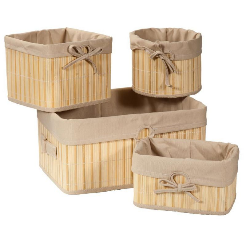 cestos de bambu lacado natural set 4 pzas